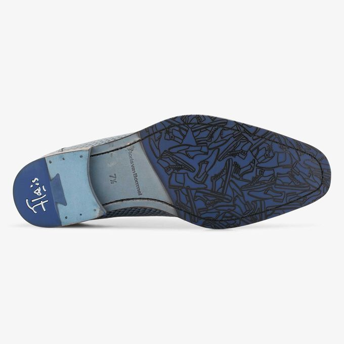 Floris van Bommel jeansblauwe leren snakeprint heren veterschoen