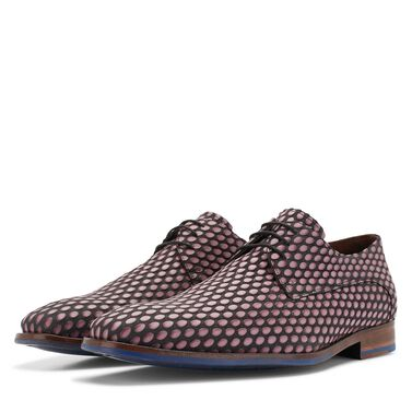Floris van Bommel calf leather lace shoe with a coffee bean print
