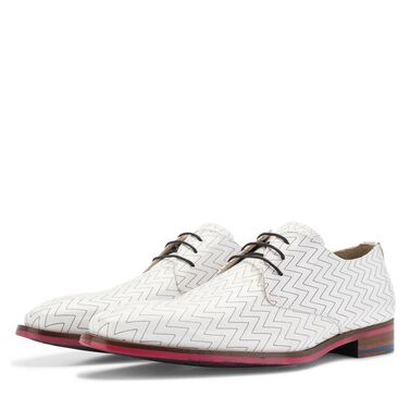Floris van Bommel Premium white men's patent leather lace shoes with black zig-zag pattern