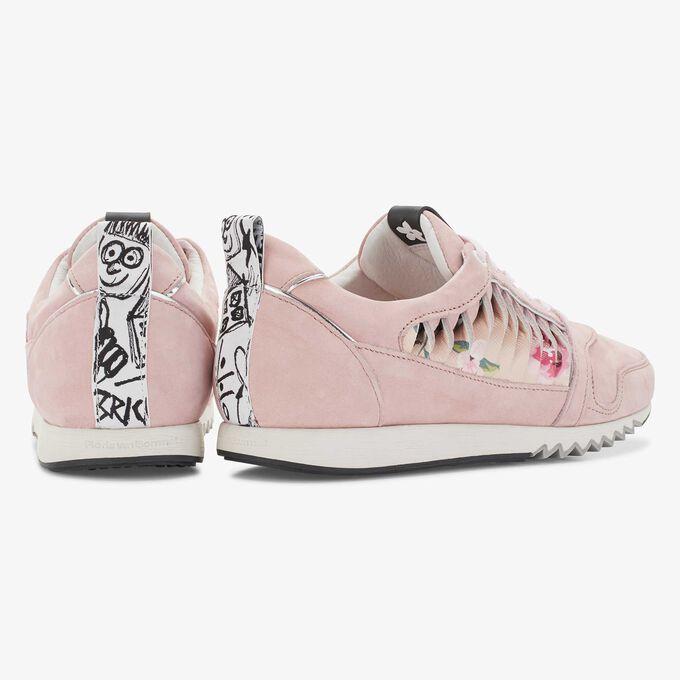 Floris van Bommel roze nubuckleren damessneaker