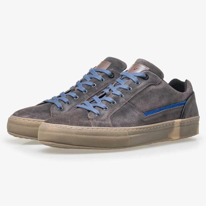 Floris van Bommel grijsbruine suède heren sneaker