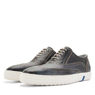 Floris van Bommel men's brogue sneaker with snake print