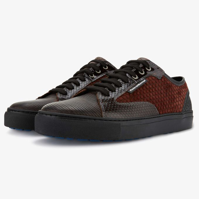Floris van Bommel donkerbruine leren heren sneaker
