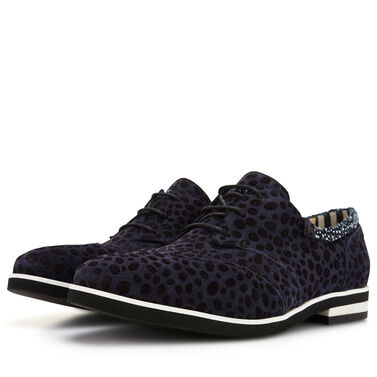 Floris van Bommel dark blue suede ladies' lace shoe