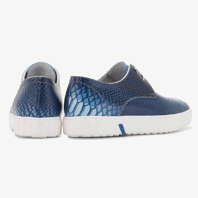 Floris van Bommel blauwe snakeprint heren city sneaker