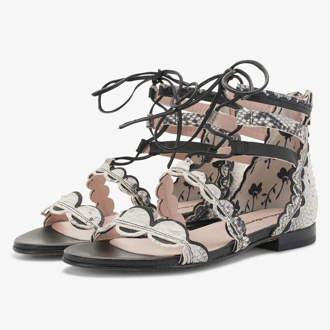 Floris van Bommel graue Damen Leder Sandale mit Schlangenprint