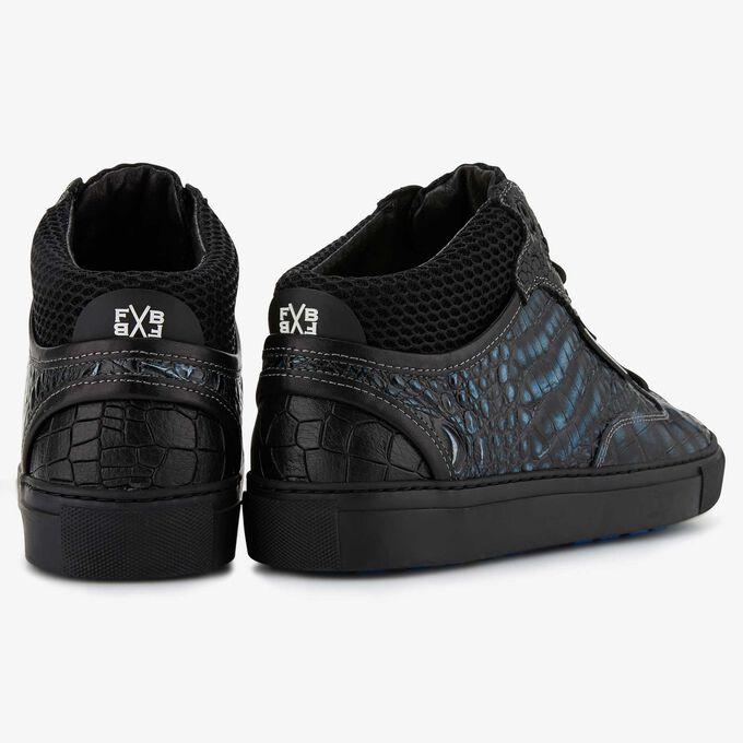 Floris van Bommel blauw metallic crocoprint heren sneaker