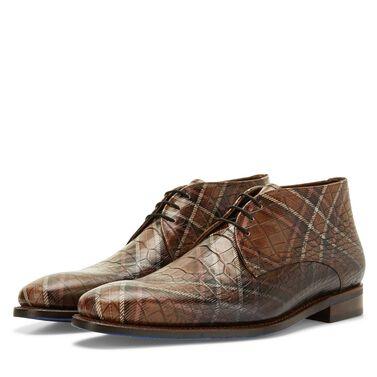 Floris van Bommel men's lace boot with crocodile print