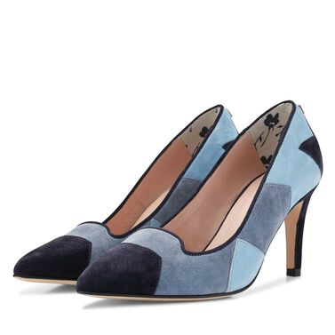 Floris van Bommel suede leather patchwork pumps