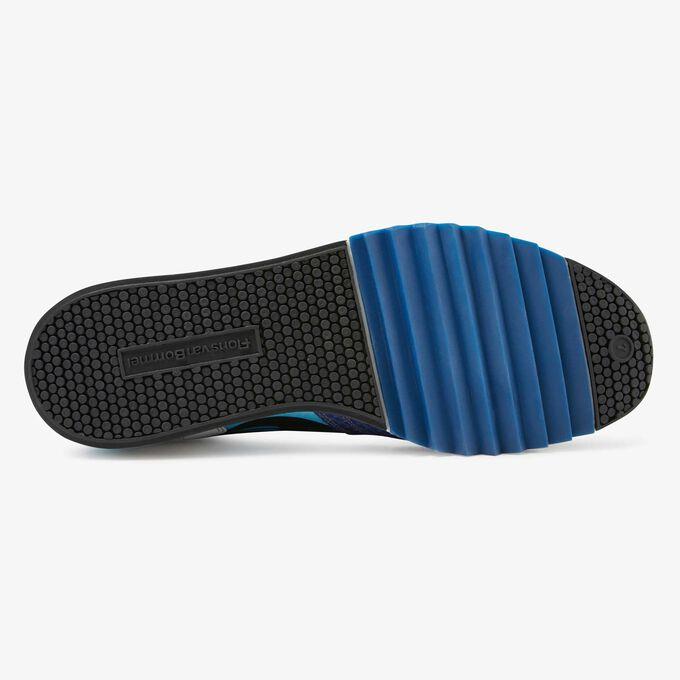 Floris van Bommel kobaltblauwe snakeprint heren sneaker