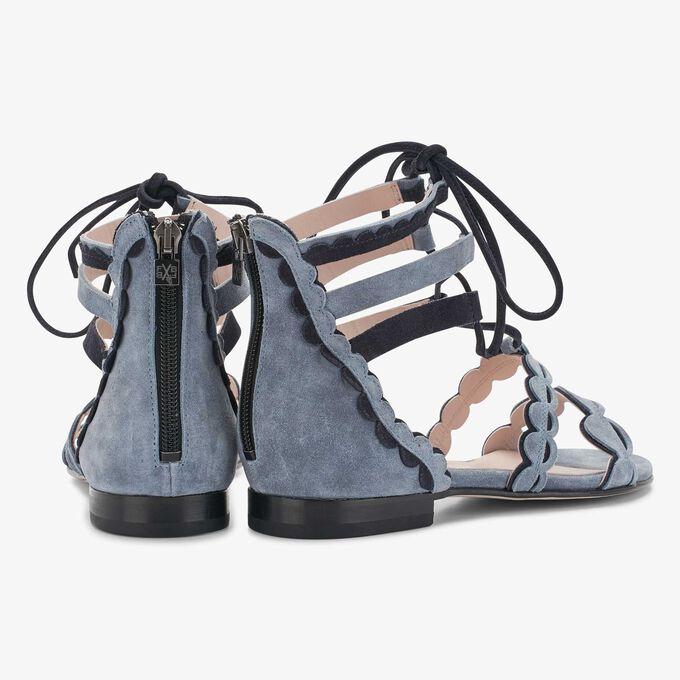 Floris van Bommel blauwe suède dames sandaal