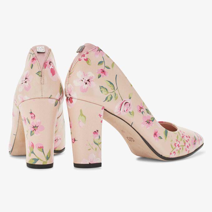 Floris van Bommel roze leren pump met een bloemendessin