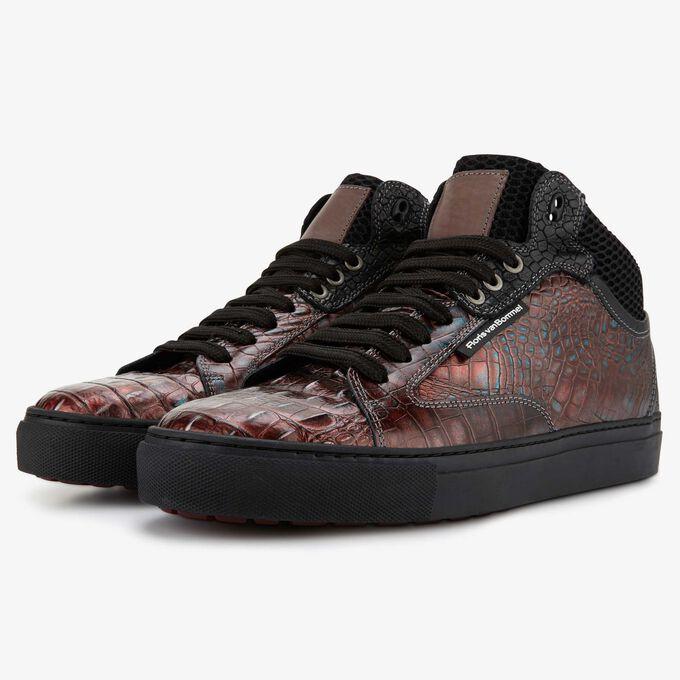 Floris van Bommel rood metallic crocoprint heren sneaker