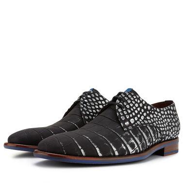 Floris van Bommel Herren Premium schwarzer Schnürschuh mit Krokodil Aufdruck