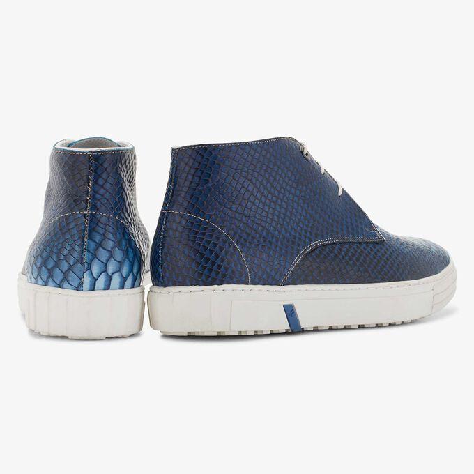 Floris van Bommel halbhoher blauer Herren City Sneaker mit Schlangenprint