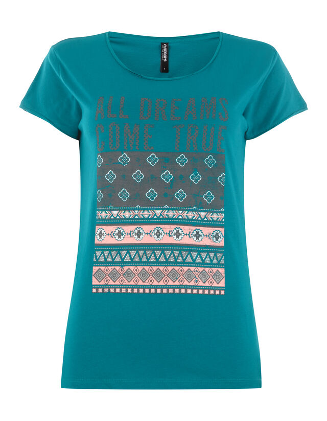 Damen Shirt mit ornamentalem Print und Message