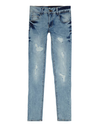 Mädchen Skinny Fit 5-Pocket-Jeans im Used Look