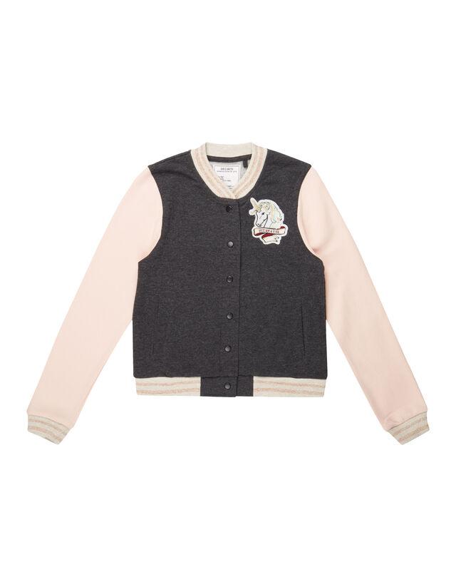 Mädchen College-Jacke mit Einhorn-Aufnäher