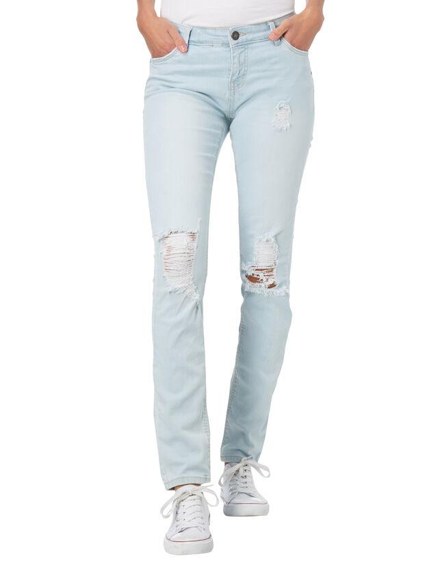 Damen Slim Fit Jeans im Destroyed Look