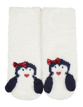 Mädchen Haussocken mit Pinguin-Motiv