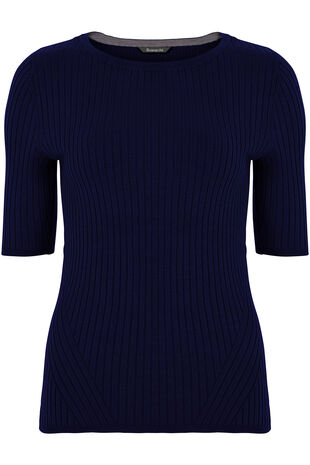 Short Sleeve Ribbed Jumper
