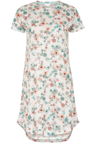 Floral Scoop Hem Nightshirt