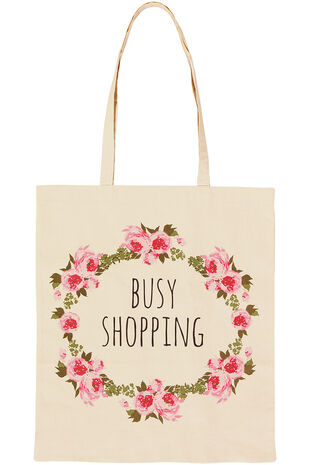 Rose Print Cotton Shopper Bag
