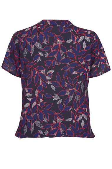 Leaf Print Pleat Front Blouse