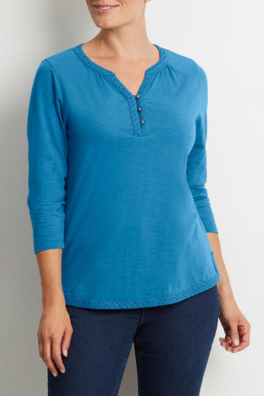 Cotton Broderie Trim T-Shirt