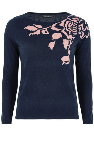 Floral Intarsia Placement Jumper