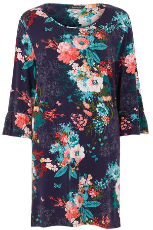 Floral And Butterfly Fluted Sleeve Tunic
