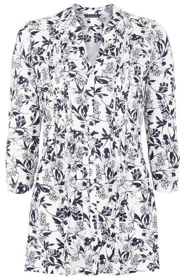 Sprig Print Pintuck Detail Jersey Top