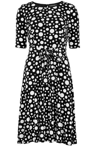 Spot Print Tie Front Tea Dress