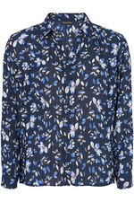 Clematis Floral Long Sleeve Pleated Blouse