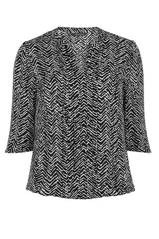 3/4 Sleeve Mono Herringbone Pleat Front Blouse