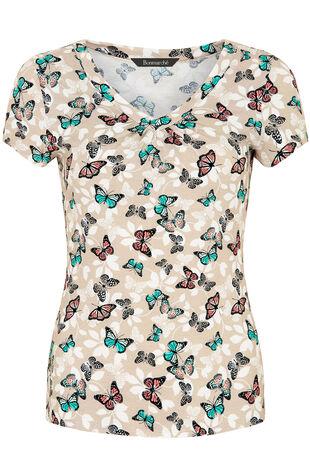 Butterfly Print V-Neck Top