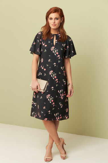 Floral Printed Flared Sleeve Dress