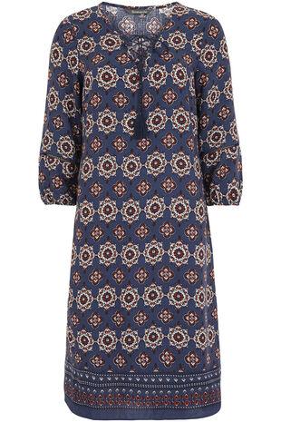 Floral Tie Front A Line Dress