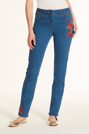 Embroidered SUSIE Slim Leg Jean