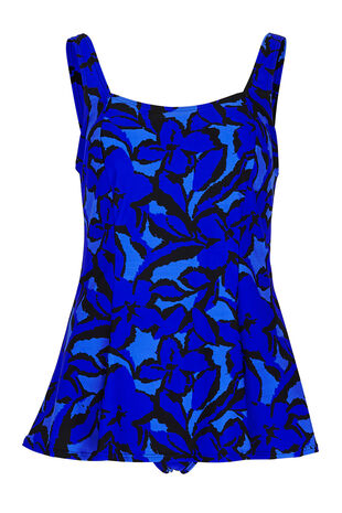 Abstract Floral Print Swim Dress