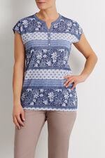 Lace Shoulder Printed T-shirt