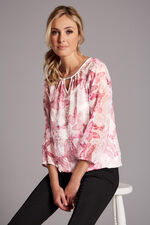 Butterfly Print Textured Spot Blouse