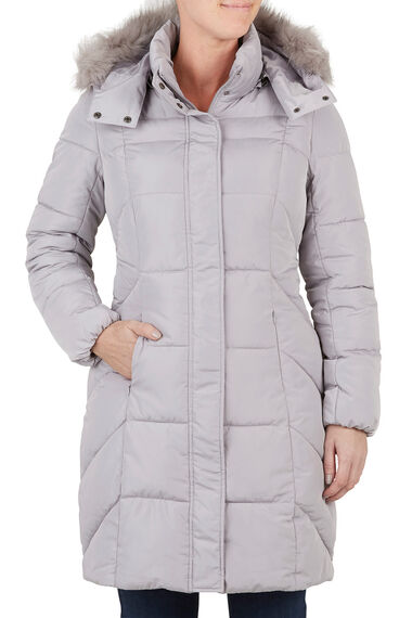 Long Padded Coat with Fur Trim