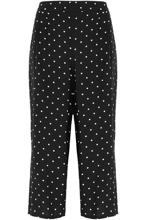 Spot Print Wide Leg Cropped Trousers