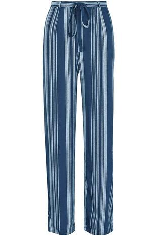 Stripe Wide Leg Belted Trousers