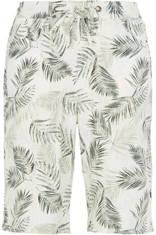 Palm Print Linen Shorts