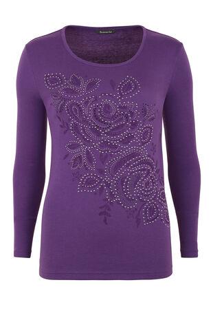 Hot Fix Floral Placement T-Shirt