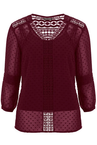 Lace Detail Textured Blouse