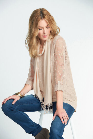 Knitted Layered Top with Scarf