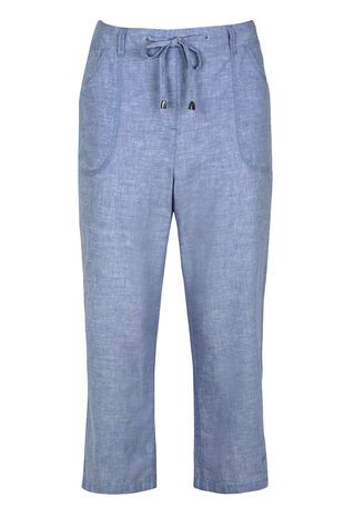 Linen Cross Dye Crop Trousers